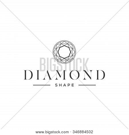 Diamond logo jewel jewelry boutique lux luxury gem gemstone crystal shape carat rich treasure expensive gift fashion sparkle royal wealth facet marriage engagement ring love romance stock photo