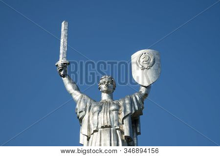 Monument Mother Motherland in Kiev, Ukraine. Monumental statue of the Mother Motherland devoted the Great Patriotic War stock photo