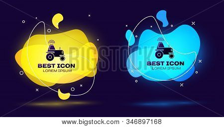 Black Self driving wireless tractor on a smart farm icon isolated on blue background. Smart agriculture implement element. Set abstract banner with liquid shapes. Vector Illustration stock photo