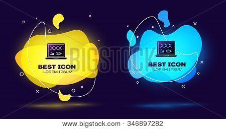 Black Genetic engineering modification on laptop icon isolated on blue background. DNA analysis, genetics testing, cloning. Set abstract banner with liquid shapes. Vector Illustration stock photo