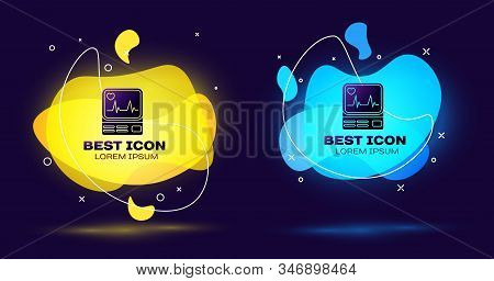 Black Computer monitor with cardiogram icon isolated on blue background. Monitoring icon. ECG monitor with heart beat hand drawn. Set abstract banner with liquid shapes. Vector Illustration stock photo