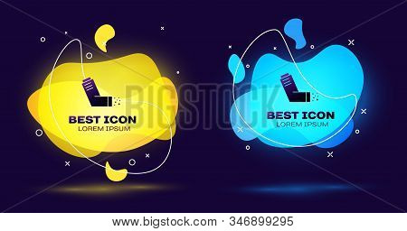 Black Inhaler icon on blue background. Breather for cough relief, inhalation, allergic patient. Medical allergy asthma inhaler spray. Set abstract banner with liquid shapes. Vector Illustration stock photo