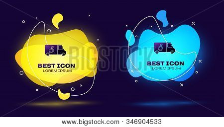 Black Car service icon isolated on blue background. Repair service auto mechanic. Maintenance sign. Set abstract banner with liquid shapes. Vector Illustration stock photo