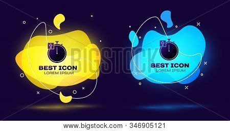 Black Stopwatch icon isolated on blue background. Time timer sign. Chronometer sign. Set abstract banner with liquid shapes. Vector Illustration stock photo