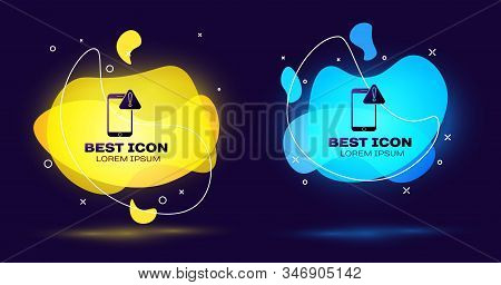 Black Mobile phone with exclamation mark icon isolated on blue background. Alert message smartphone notification. Set abstract banner with liquid shapes. Vector Illustration stock photo