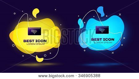Black No Internet connection icon isolated on blue background. No wireless wifi or sign for remote internet access. Set abstract banner with liquid shapes. Vector Illustration stock photo