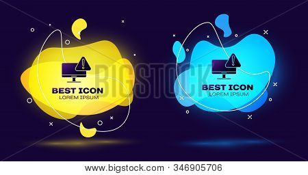 Black Computer monitor with exclamation mark icon isolated on blue background. Alert message smartphone notification. Set abstract banner with liquid shapes. Vector Illustration stock photo