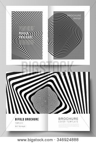 Vector layout of two A4 format modern cover mockups design templates for bifold brochure, flyer, booklet, report. Abstract 3D geometrical background with optical illusion black design pattern. stock photo