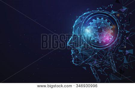 AI, Artificial intelligence. Ai digital brain. Robotics concept. Human face made from polygon. Illustration vector stock photo