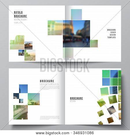 Vector layout of two covers templates for square design bifold brochure, flyer, magazine, cover design, book design, brochure cover. Abstract project with clipping mask green squares for your photo. stock photo