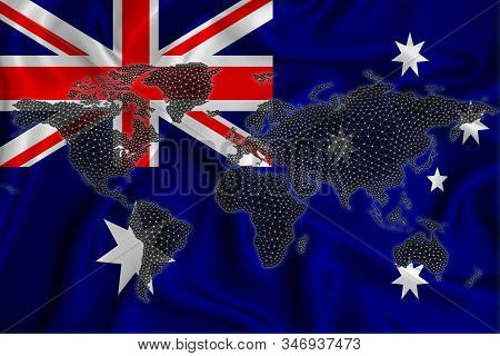 Map of the world from the blockchain network on the background of the flag of Australia. Australia cryptocurrency concept. stock photo