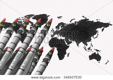 Atomic rockets earth - air directed up against the background of a world map with a grid. The concept of atomic warfare. stock photo