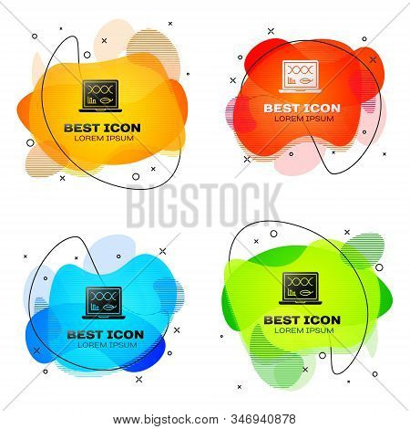 Black Genetic engineering modification on laptop icon isolated on white background. DNA analysis, genetics testing, cloning. Set abstract banner with liquid shapes. Vector Illustration stock photo