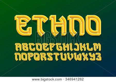 Ethno decorative alphabet. 3d colored font. Isolated english alphabet. stock photo