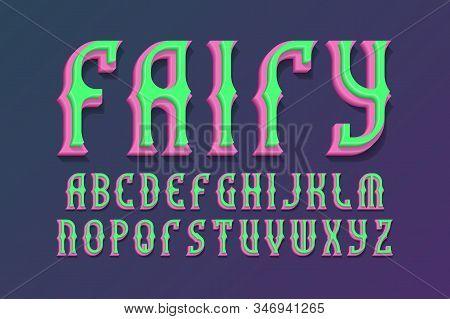 Fairy decorative alphabet. 3d colored font. Isolated english alphabet stock photo