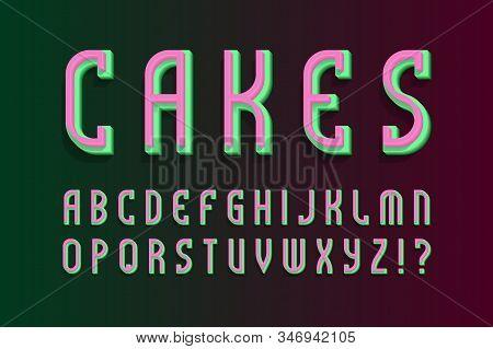 Cakes layered alphabet. Colored 3d font. Isolated english alphabet. stock photo