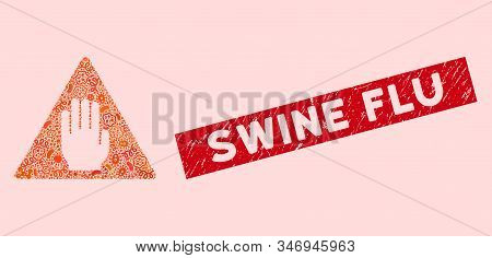 Flu mosaic alert icon and rectangular grunge stamp seal with Swine Flu caption. Mosaic vector is created with alert icon and with random bacterium elements. Swine Flu stamp uses red color, stock photo