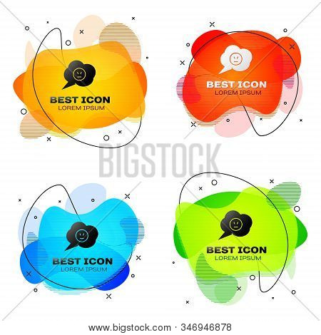 Black Speech bubble with angry smile icon isolated on white background. Emoticon face. Set abstract banner with liquid shapes. Vector Illustration stock photo