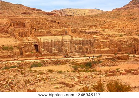 Aerial view of the Great Temple, a grand monumental complex a south of Colonnaded Street and one of the major archaeological and architectural components of central Petra in Jordan. stock photo