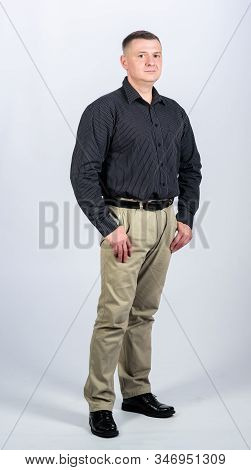 Man regular caucasian appearance wear formal clothes. Male fashion store. Businessman lecturer manager office worker. Formal style clothing. Corporate and formal. Boss director head of department stock photo