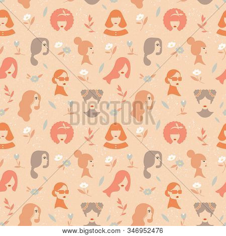 Colorful vector seamless pattern of silhouettes of women in a linear style with inscriptions beautiful font. On vector noised background. stock photo