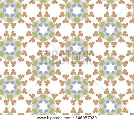 Background seamless mandala from the arrows figures green, pink, gray and orange colored. Geometric stylish Arrows shaped motley design template. faded ornament for fabric cloth, wrapping, banner stock photo