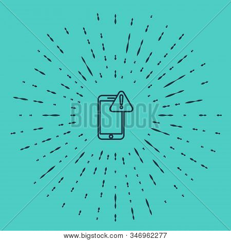 Black line Mobile phone with exclamation mark icon isolated on green background. Alert message smartphone notification. Abstract circle random dots. Vector Illustration stock photo