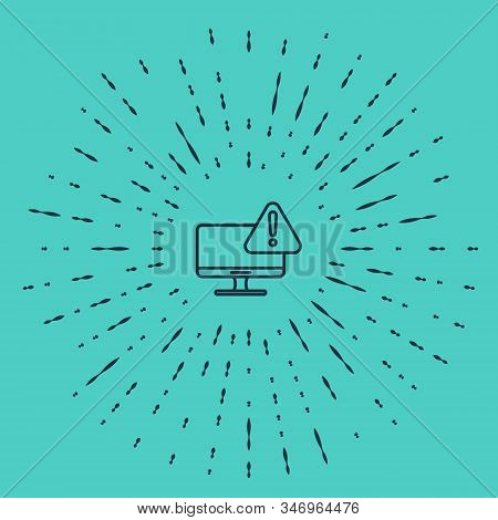 Black line Computer monitor with exclamation mark icon isolated on green background. Alert message smartphone notification. Abstract circle random dots. Vector Illustration stock photo
