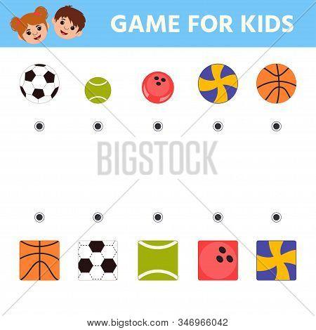 Education logic game for preschool kids. Kids activity sheet. Find a match. Basket ball, tennis ball, foot ball, bowling ball, volley ball. Children funny riddle entertainment stock photo