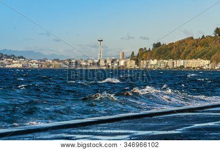 A view of Elliott Bay with Alki Beach condos in the distance. stock photo