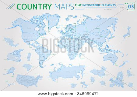 America, Asia, Africa, Europe, Australia, Oceania, Mexico, Japan, Canada, Brazil, USA, Russia, China Vector Maps stock photo