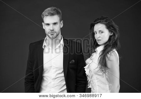 Employee in employment. Professional female employee and businessman. Sexy administrative employee and employer. Adorable woman employee and handsome man. Personnel. Staff. Workforce. stock photo