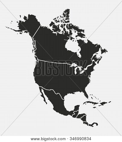 North America map with regions. USA, Canada, Mexico map. Outline North America map isolated on white background. Vector illustration stock photo