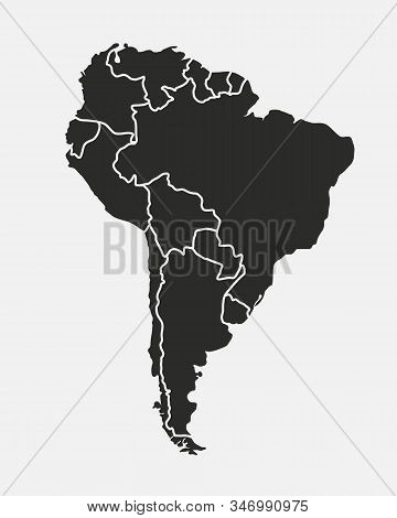 South America map isolated on a white background. Latin America background. Map of South America with regions. Vector illustration stock photo