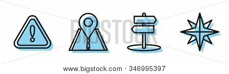 Set line Road traffic sign, Exclamation mark in triangle, Road traffic sign and Wind rose icon. Vector stock photo