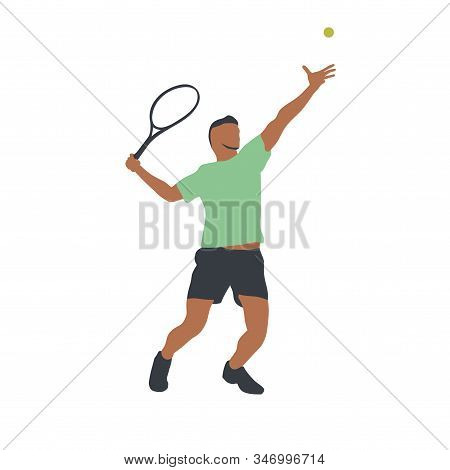 Tennis player isolated vector drawing, abstract silhouette. Forehand. Individual sport, active people stock photo