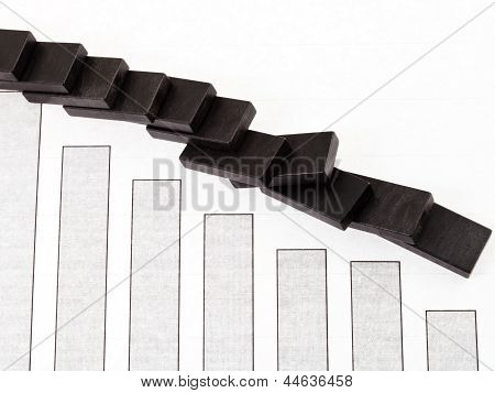 business concept - fallen domino and sales fall diagram stock photo