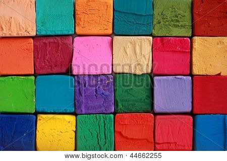 Multi colour pastel chalks macro shot background stock photo