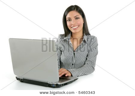 Beautiful Indian brunette businesswoman with laptop computer isolated on white stock photo