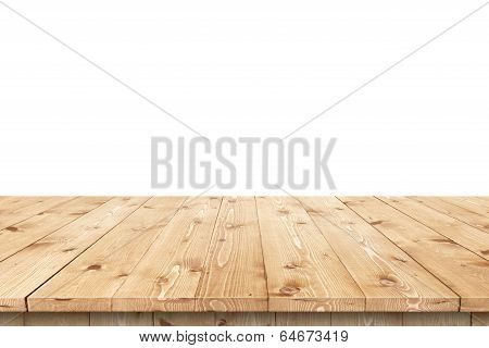 Empty wooden table in a sun for product placement or montage