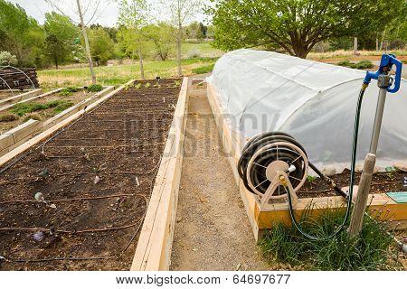 Urban vegetable garden is ready for planting in Spring. ** Note: Soft Focus at 100%, best at smaller sizes stock photo