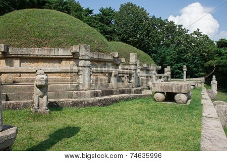 Tomb of King Kongmin, a 14th-century mausoleum located in Haeson-ri, Kaepung County, outside of the city of Kaesong, North Korea. stock photo