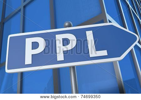 PPL - Pay per Lead - illustration with street sign in front of office building. stock photo