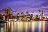 New York, New York, USA city horizon with the Brooklyn Bridge and Manhattan Financial District over