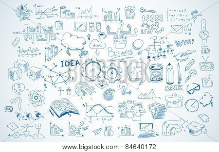 Business doodles Sketch set : infographics elements isolated, vector shapes. It include lots of icon