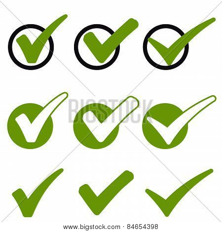big collection of different green success check marks stock photo