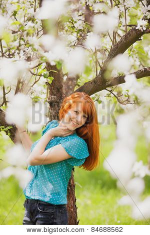 Happy Woman With Gorgeous Red Hair