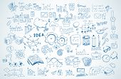 Business doodles Sketch set : infographics components detached, vector shapes. It incorporate loads