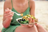 Poke dish serving of mixed greens plate. A conventional nearby Hawaii sustenance dish with crude mar