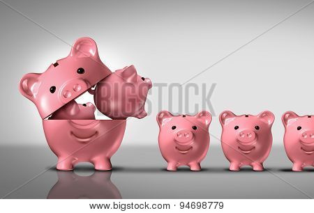 Business diversification concept as a financial growth strategy for new markets for investment growth as an open piggy bank with a group of smaller piggybanks as a metaphor for growing wealth or budget costs and inflation symbol. stock photo